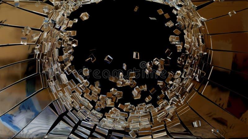 拆毁:立方体被打碎的玻璃片断  库存例证