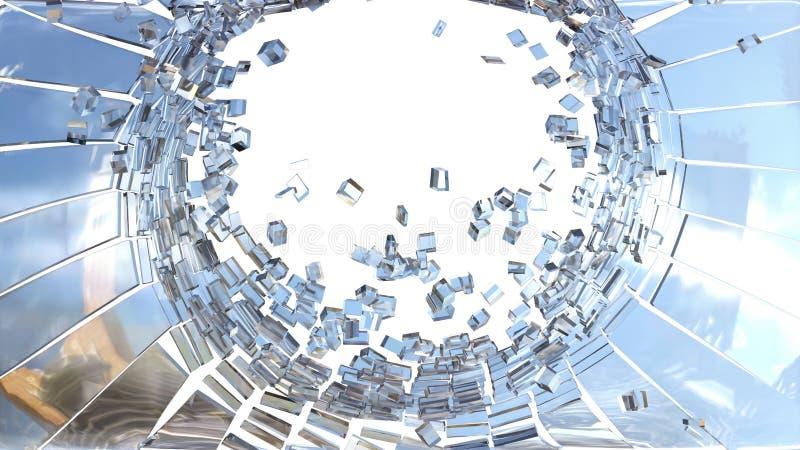 拆毁:立方体被打碎的玻璃片断  向量例证