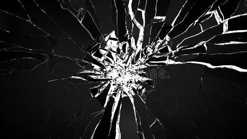 拆毁:被隔绝的立方体被打碎的玻璃片断  向量例证