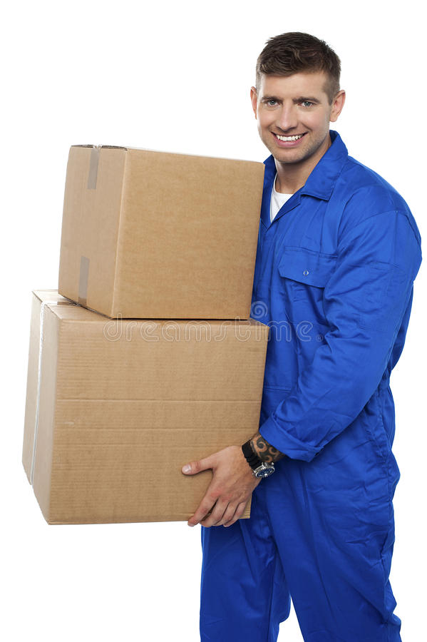 拆迁人员运载的纸板箱 库存图片