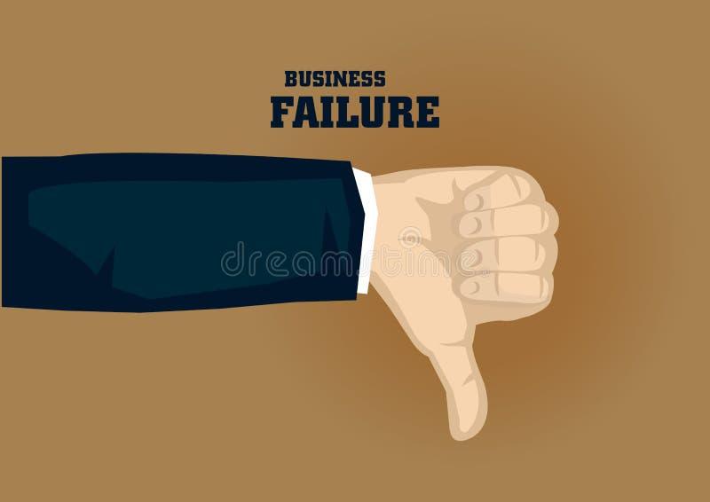 拇指下来打手势企业倒闭传染媒介的Illustra动画片 库存例证