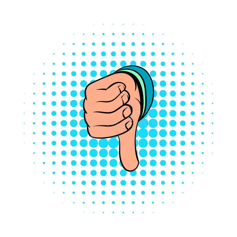 拇指下来打手势象,漫画样式 库存例证
