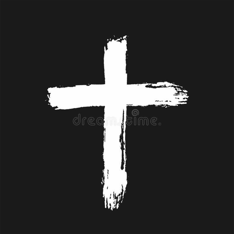 拉丁十字架用手画与一把粗砺的刷子 在黑背景隔绝的白色象 剪影,街道画,难看的东西,油漆 向量例证