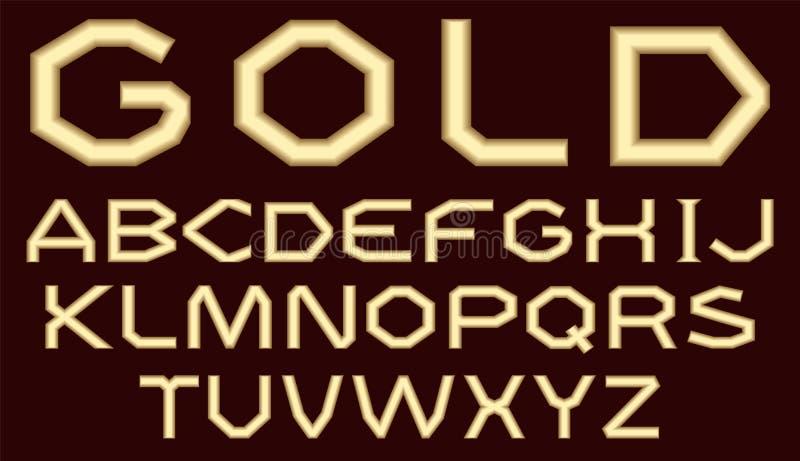 拉丁字母一个成套由与表面无光泽的表面的金子制成 一种宽,有角,粗糙的字体绝缘与黑暗的绯红色b 库存例证