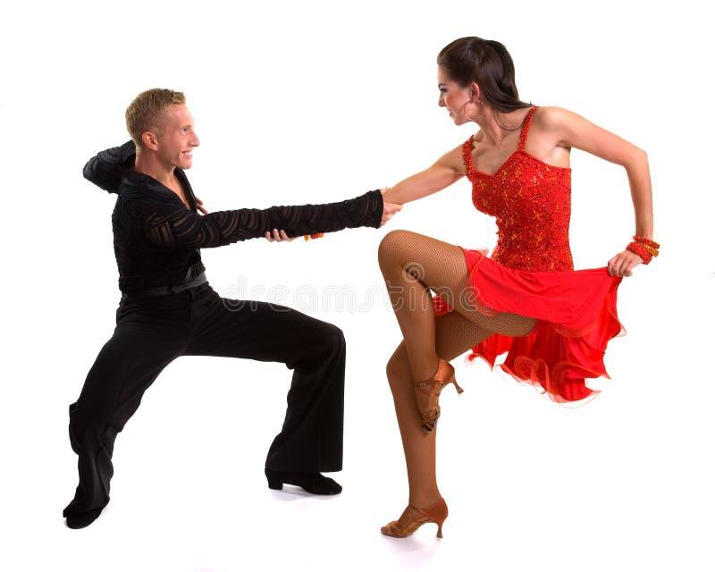 拉丁语10个舞厅的舞蹈演员 库存照片