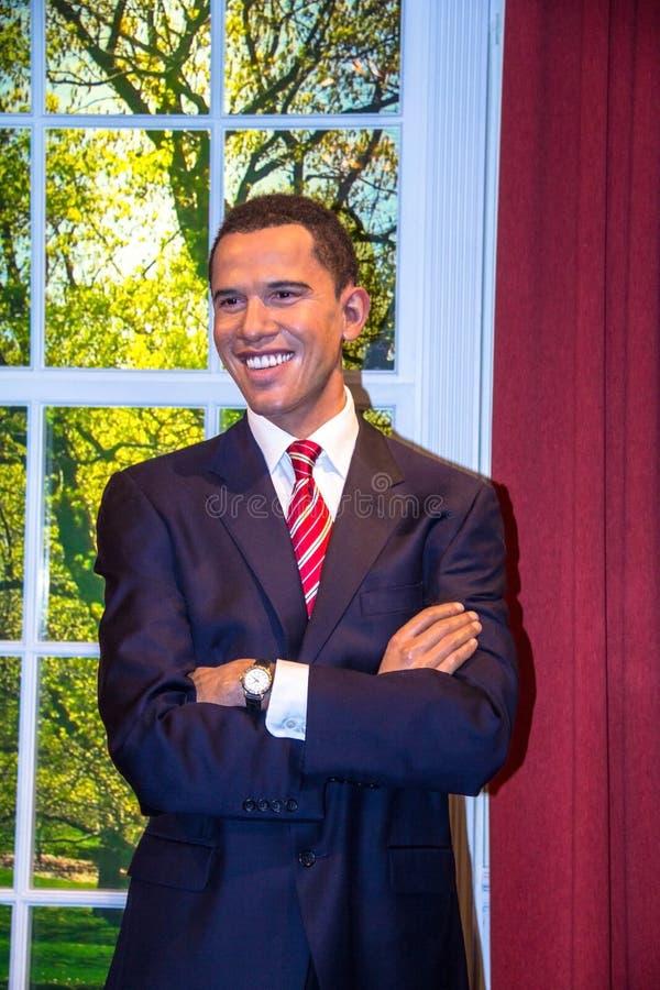 贝拉克・奥巴马,美国总统,在杜莎夫人蜡象馆博物馆在伦敦 免版税库存图片