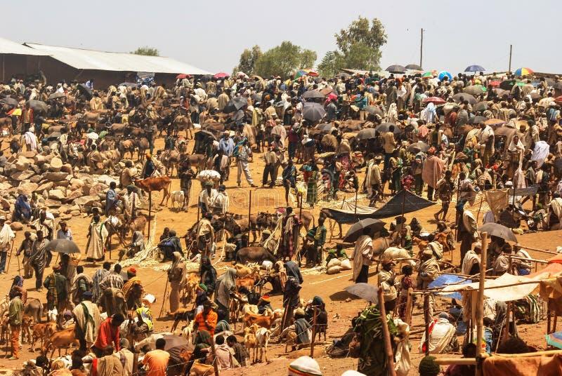拉利贝拉,埃塞俄比亚,2009年6月13日:市场场面,未认出的p 免版税库存照片