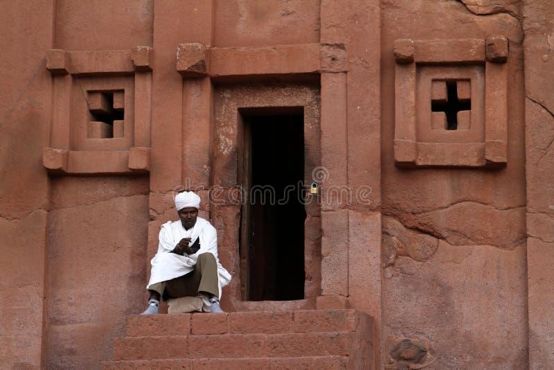 拉利贝拉岩石雕刻在埃塞俄比亚 免版税库存图片