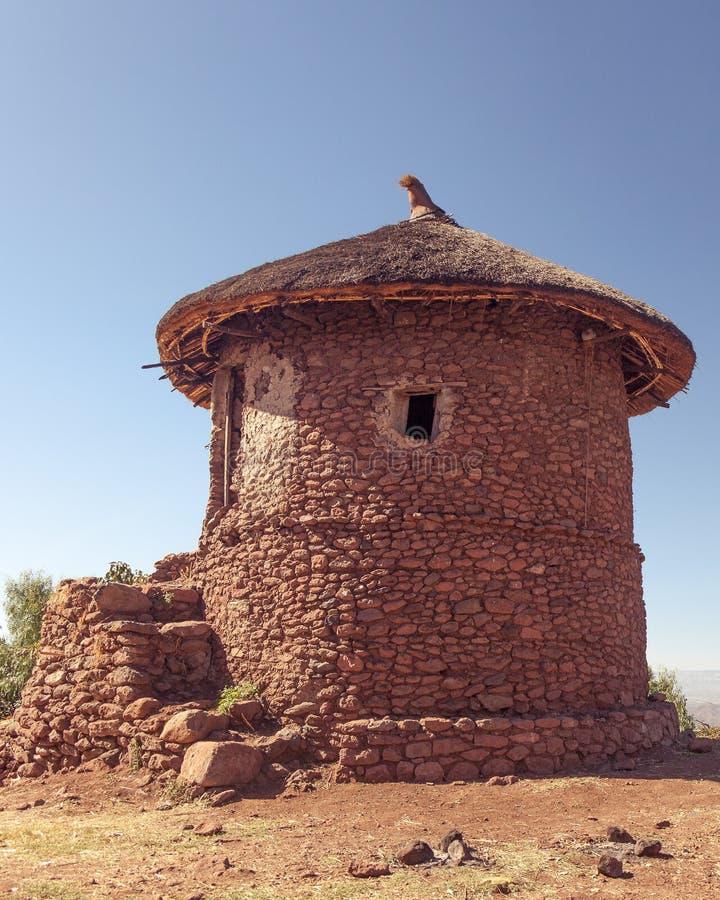 拉利贝拉的传统房子在埃塞俄比亚 免版税图库摄影