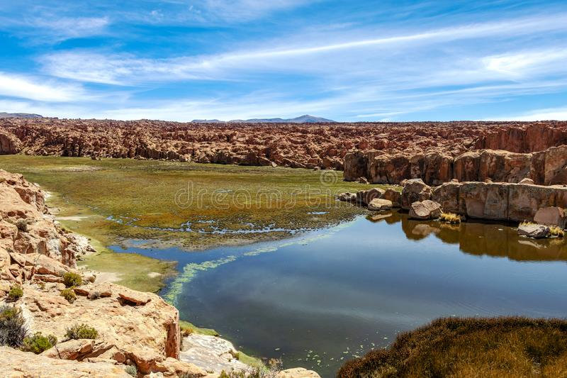 拉古纳内格拉,黑盐水湖湖的看法被楔住在岩层之间在阿尔蒂普拉诺高原,玻利维亚 免版税库存图片