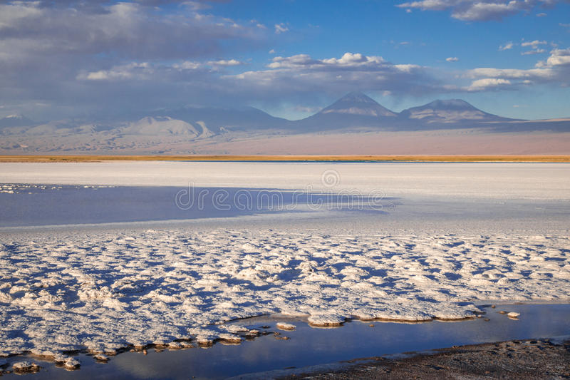 拉古纳Tebinquinche风景在圣佩德罗火山de阿塔卡马,智利 库存图片