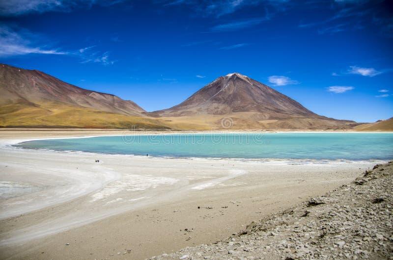 拉古纳Verde,撒拉族de Uyuni,玻利维亚 免版税库存照片