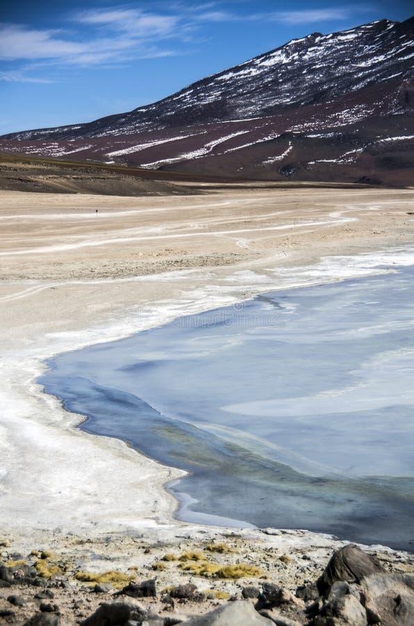 拉古纳Verde,撒拉族de Uyuni,玻利维亚 免版税库存图片