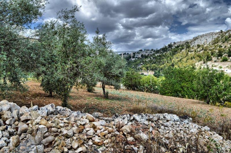 拉古萨地区的典型的风景,莫迪卡,西西里岛,意大利,欧洲 免版税库存图片