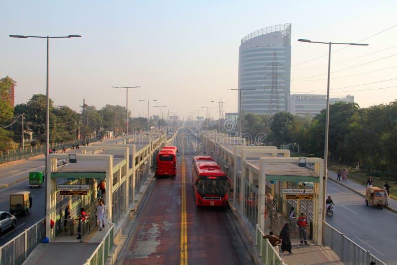 拉合尔地铁公共汽车总站 库存照片