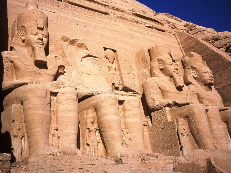 拉姆西斯寺庙II在阿布格莱布Simbel 库存照片