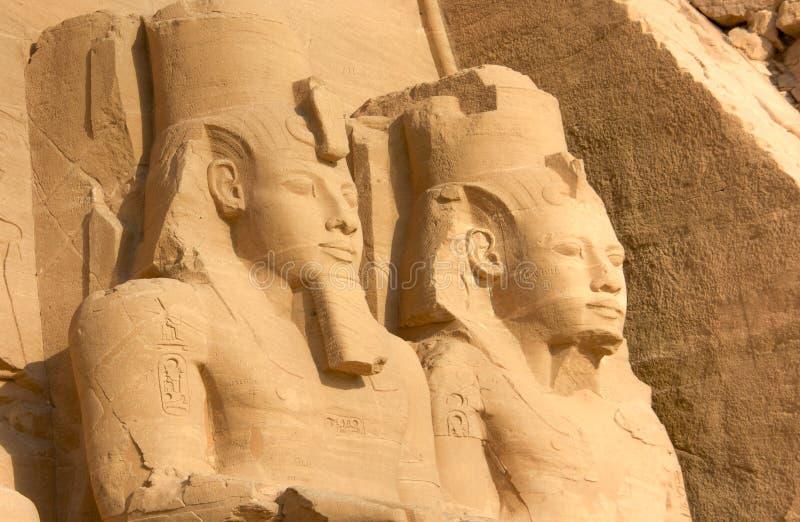 拉姆西斯巨大雕象II,阿布格莱布Simbel,埃及 库存照片