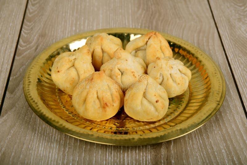 拉娃Modak, Maharashtrian传统甜点 库存照片