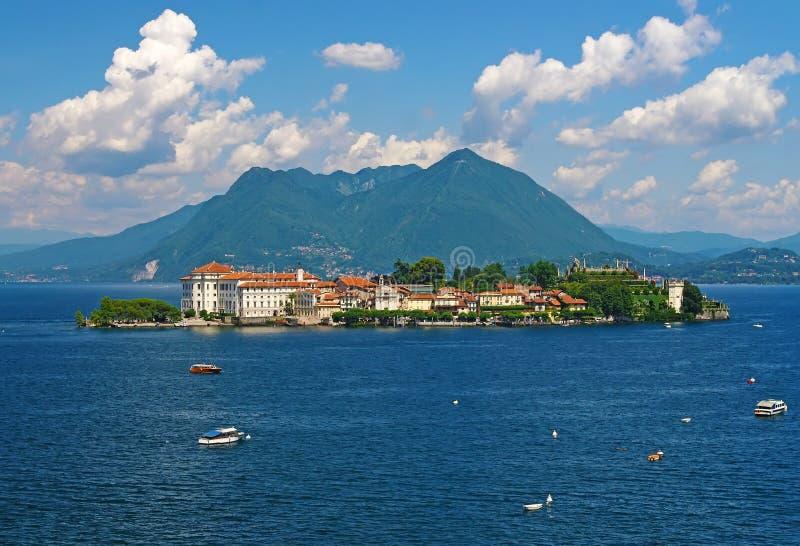 贝拉岛风景看法Maggiore湖的,意大利 免版税库存图片