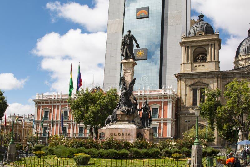 拉巴斯,玻利维亚,DEC 2018年:广场牟利罗在拉巴斯,玻利维亚市中心 免版税库存图片