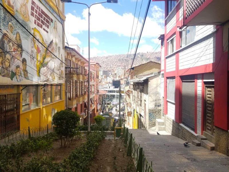 拉巴斯,玻利维亚,DEC 2018年:拉巴斯,玻利维亚街道在市中心 库存照片