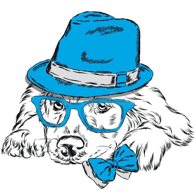 拉布拉多传染媒介 家谱狗 逗人喜爱的小狗 佩带帽子、太阳镜和领带的拉布拉多 库存例证