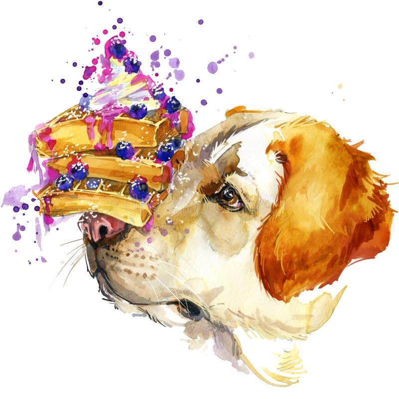 拉布拉多狗、维也纳奶蛋烘饼和莓果T恤杉图表,狗例证 皇族释放例证