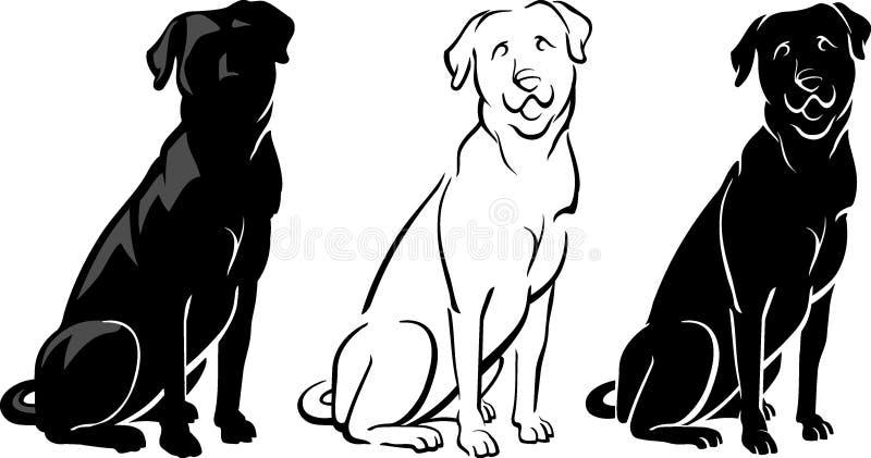 拉布拉多狗在3个样式的艺术品收藏 库存例证