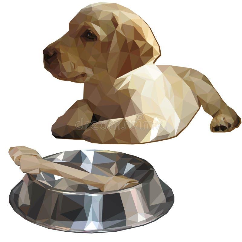 拉布拉多猎犬小狗和碗有多骨头的低落的 皇族释放例证