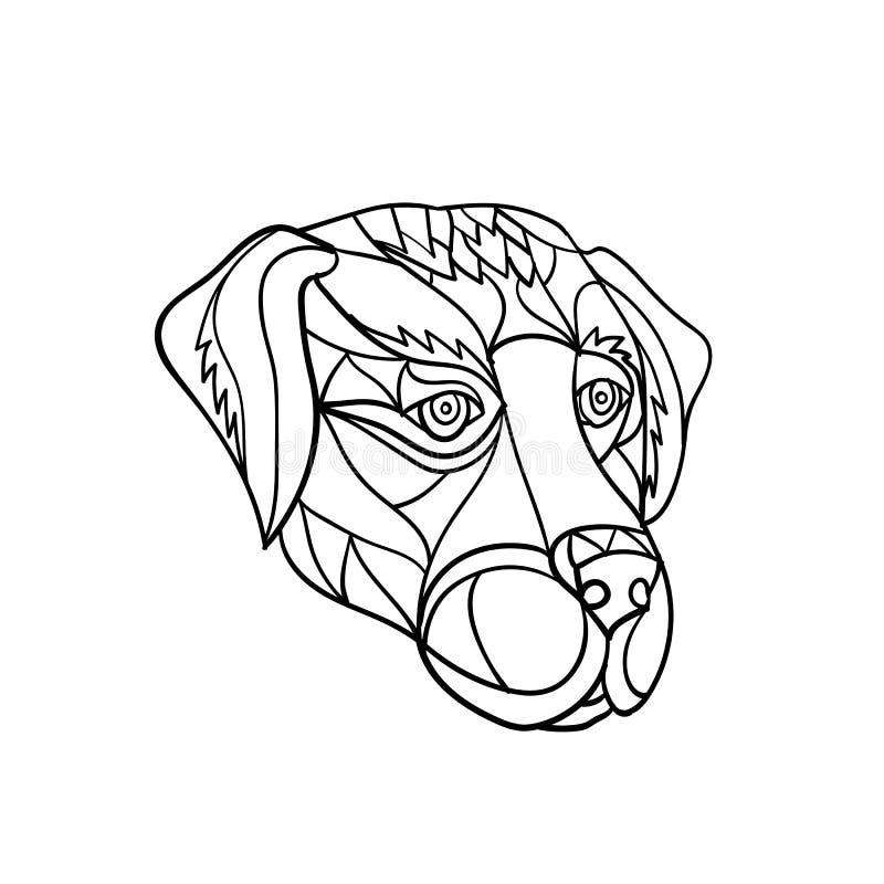拉布拉多黑白狗头的马赛克 向量例证