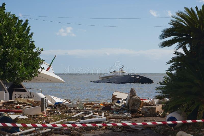 拉帕洛风暴-利古里亚海 免版税库存图片