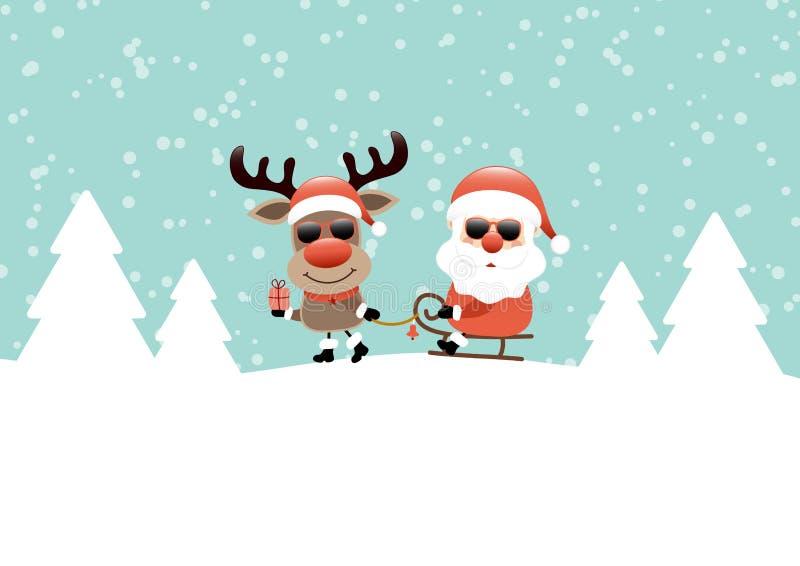 拉扯与圣诞老人太阳镜雪和森林绿松石的驯鹿雪橇 库存例证