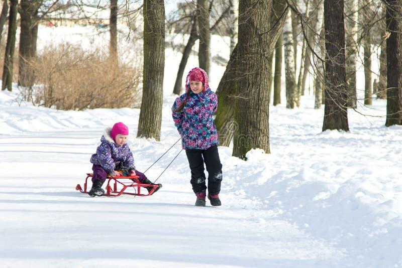 拉扯她的雪撬的愉快的长辈女孩年轻姐妹在多雪的冬天公园 库存照片