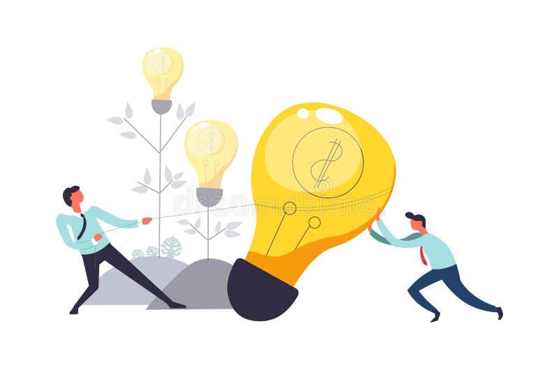 拉扯电灯泡的人企业配合一起导航 向量例证