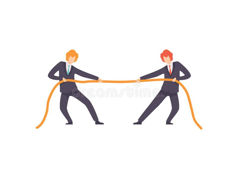 拉扯绳索,企业竞争,在同事,办公室工作者之间的竞争的相反方的两个商人 库存例证