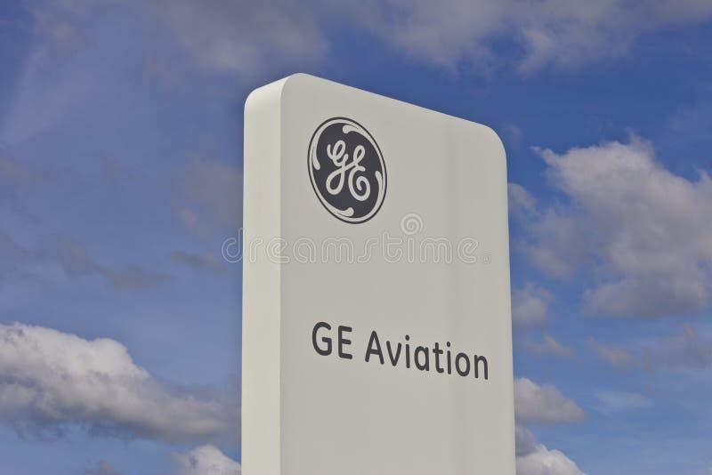 拉斐特,大约2016年7月:通用电器公司航空设备 GE航空是飞跃喷气机引擎制造商VII 库存照片