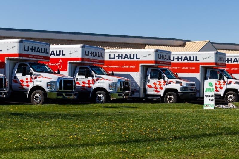 拉斐特-大约2018年4月:U拖拉移动的卡车租务地点 移动U拖拉的提议和存贮解答III 库存图片
