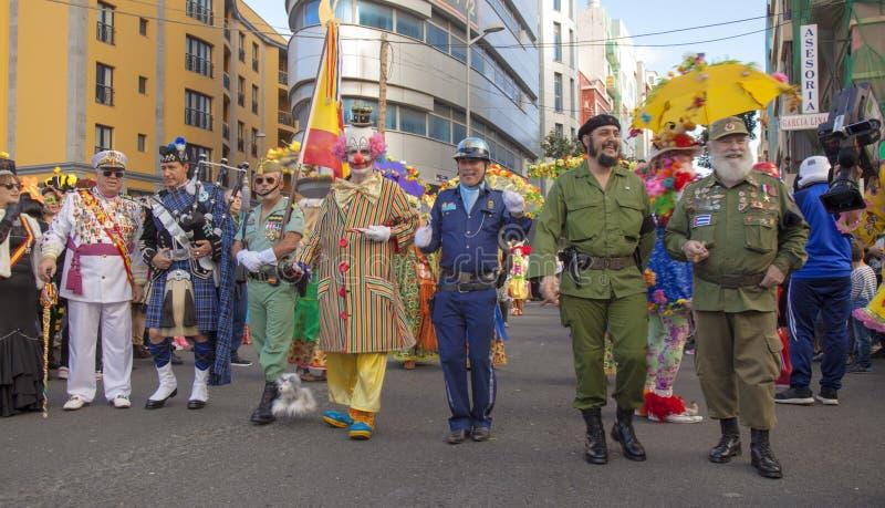 拉斯帕尔马斯主要狂欢节队伍 图库摄影