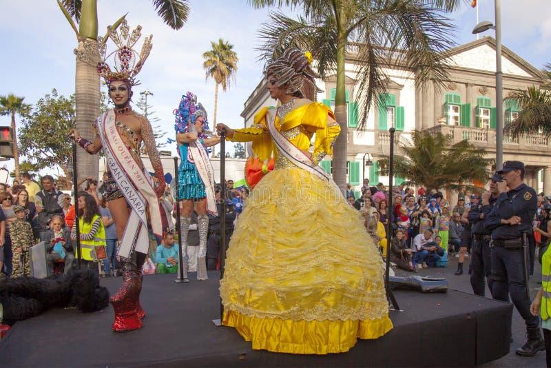 拉斯帕尔马斯主要狂欢节队伍 免版税库存照片