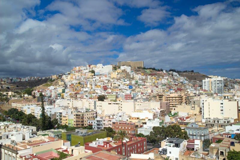 拉斯帕尔马斯de大加那利岛,往里斯科de圣尼古拉斯的看法 免版税库存图片