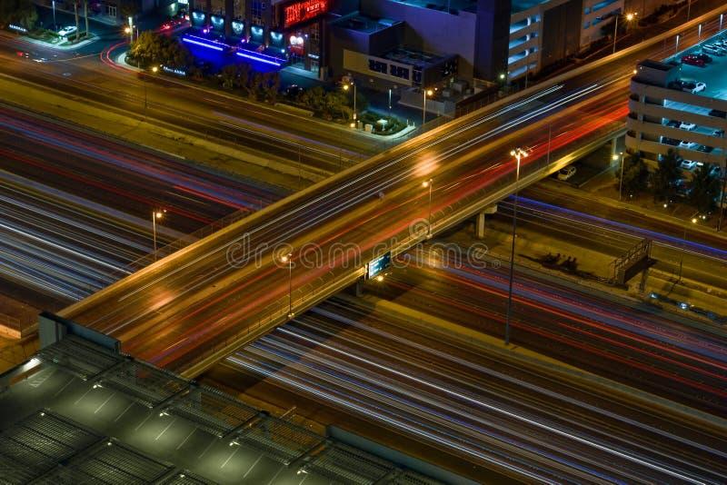 拉斯维加斯天桥夜间 库存照片