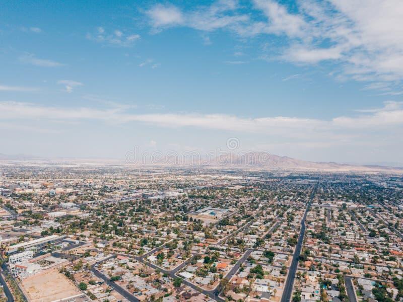 拉斯维加斯小条惊人的鸟瞰图  免版税图库摄影