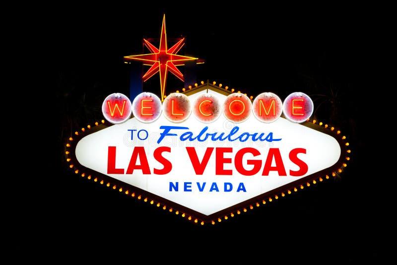 拉斯维加斯符号在晚上 免版税库存照片