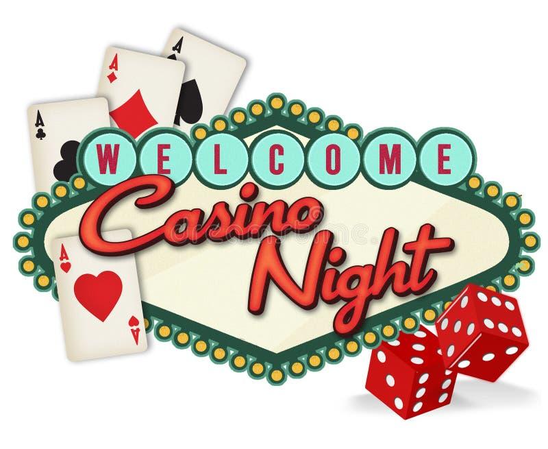 拉斯维加斯赌博娱乐场夜商标艺术品 皇族释放例证
