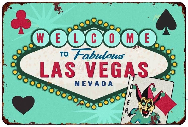 拉斯维加斯赌博娱乐场罐子标志减速火箭的卡片大会 库存例证