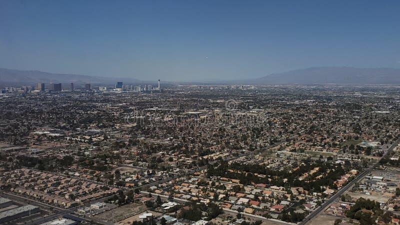 拉斯维加斯,内华达的周围的鸟瞰图  免版税库存图片