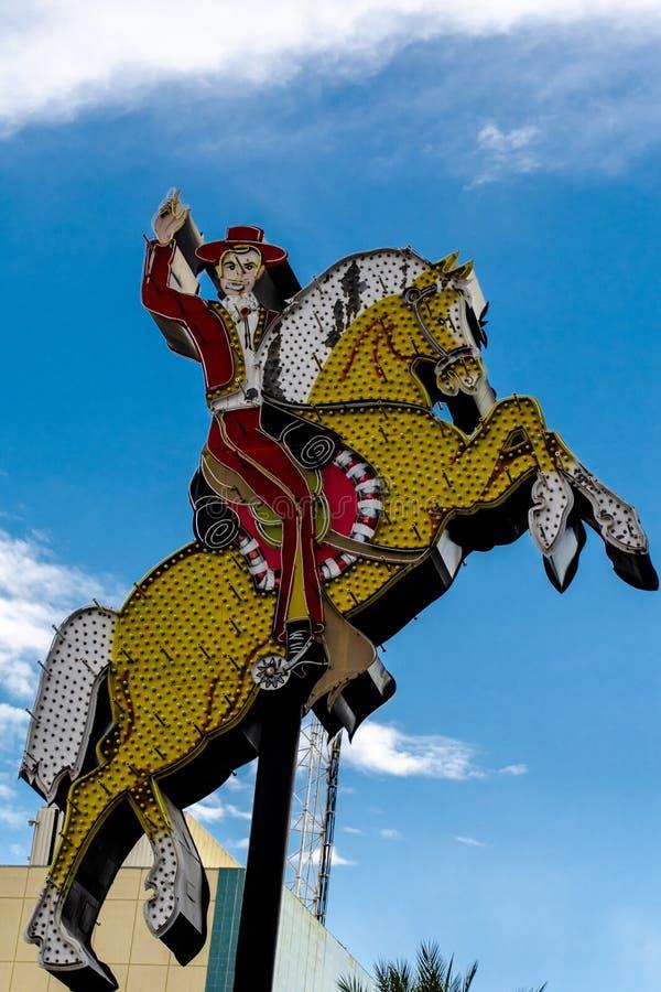拉斯维加斯,NV,美国09032018:佛瑞蒙街道历史氖 图库摄影
