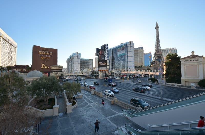 拉斯韦加斯大道、巴黎拉斯维加斯,巴黎旅馆和赌博娱乐场,市区,城市,市区,天空 免版税库存照片