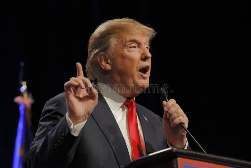 拉斯维加斯内华达, 2015年12月14日:共和党总统候选人唐纳德・川普讲话在活动在Westgate拉斯维加斯 免版税库存图片