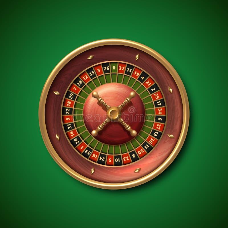 拉斯维加斯赌博娱乐场轮盘赌的赌轮传染媒介例证 向量例证